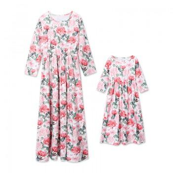 Lovely Rose Printed Long Sleeve Dress in Pink for Mom and Me