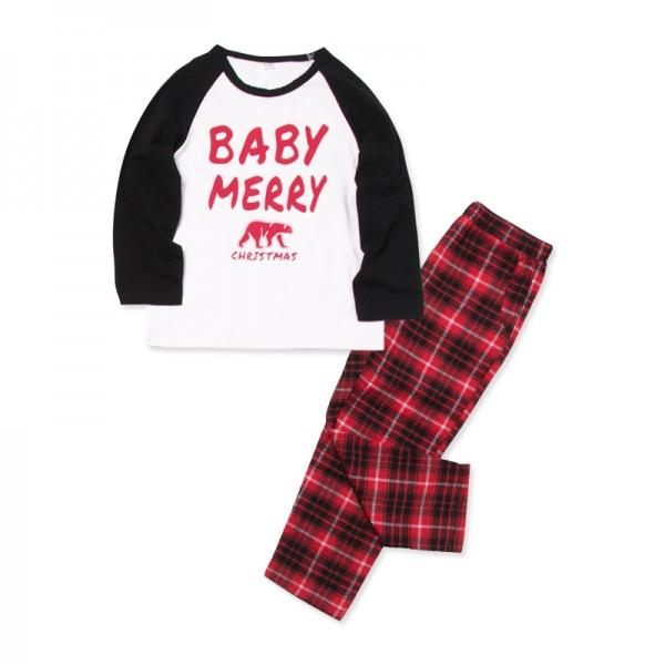 2-piece Merry Christmas Bear Family Matching Contrast T-shirt and Plaid Pants Pajamas Set