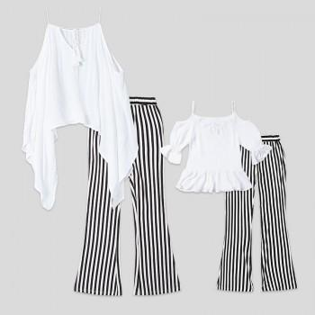 2-piece Off-shoulder Tee and Stripes Bell-bottom Pants Set for Mom and Me