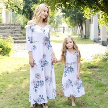 Pretty Floral Printed Off-shoulder Long Sleeve Ruffles Dress for Mom and Me
