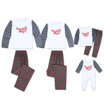 Happy Valentine Day Printed Contrast Sleeve Family Matching Pajamas Set