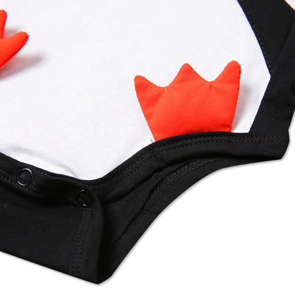 Cute Penguin Print in Black Short-sleeve Bodysuit for Baby Boy