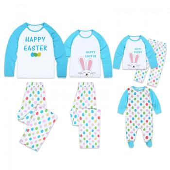 'Happy Easter' Colorful Eggs Printed Long Sleeve Family Matching Pajamas Set in Blue