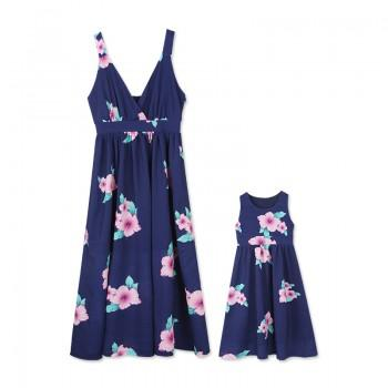 Vintage Floral Printed Sleeveless Maxi Dress for Mom and Me