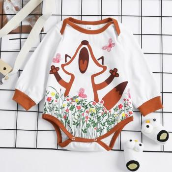 Lovely Fox and Floral Long-sleeve Baby One Piece