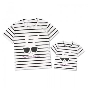 Cool Stripes Bunny Printed Short-sleeve Tee for Mom and Me