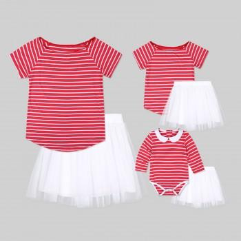 2-piece Sweet Stripes Short-sleeve Tee and Tutu Skirt Set for Mom and Me