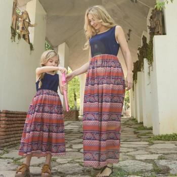Boho Print Sleeveless Maxi Dress for Mom and Me