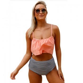 2-piece Swimsuit Slip Top and High Waist Bottom