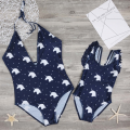 1-piece Cute Unicorn Printed Halter Swimsuit in Navy for Mom and Me