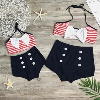 2-piece Mom and Me Stripes Bikini Swimsuit Set