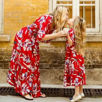 Mom and Me Gorgeous Floral Printed V-neck Maxi Dress in Red