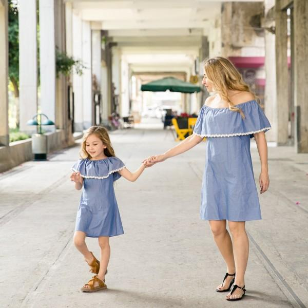Mom and Me Sweet Lace Ruffles Matching Dress in Blue