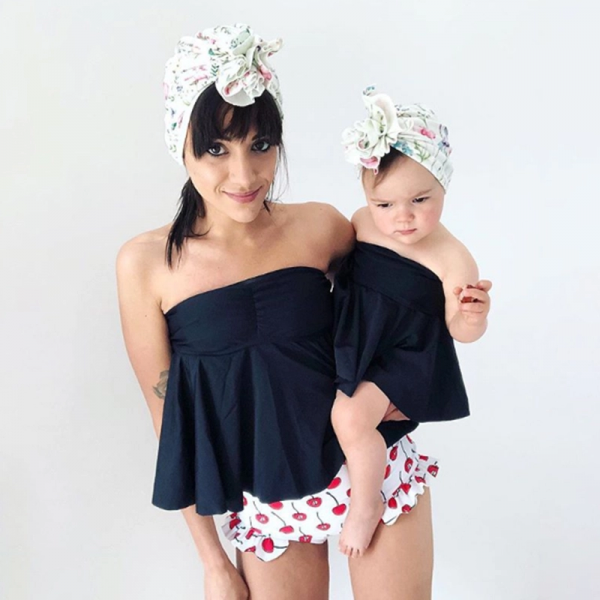2-piece Sweet Cherry Ruffles Bikini Set in for Mom and Me