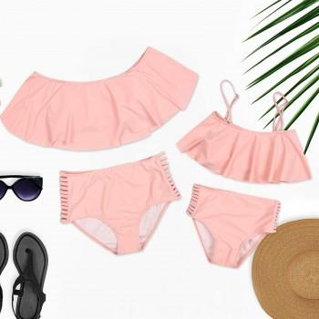 2-piece Solid Ruffles Hollow Out Bikini Set in Pink for Mom and Me