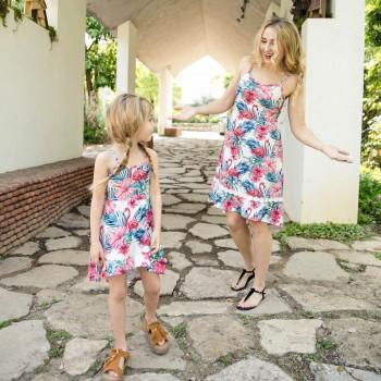 Pretty Flamingo Floral Pattern Sundress for Mom and Me