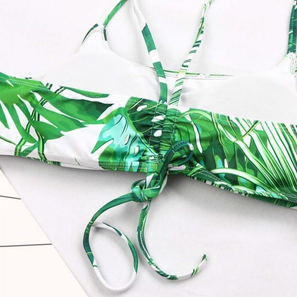 Two-piece Tropical Plants Printed Bikini Set in Green for Mom and Me