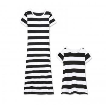 Trendy Short Sleeves Off Shoulder Stripes Dress for Mom and Me
