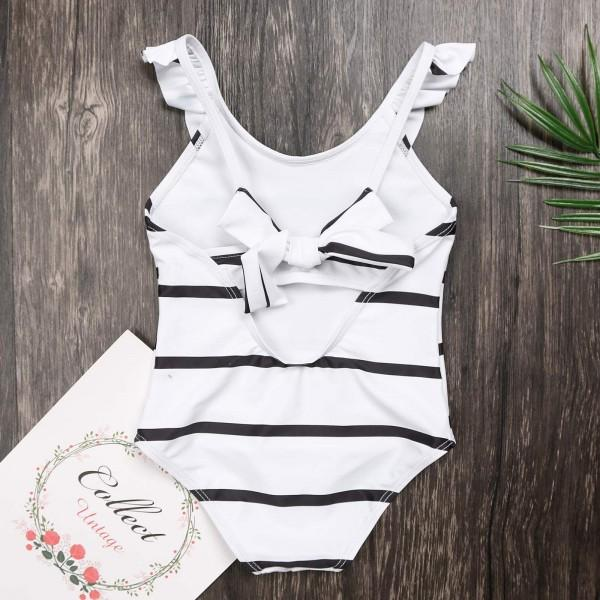 Classic Stripes One-piece Swimsuit in White for Mom and me