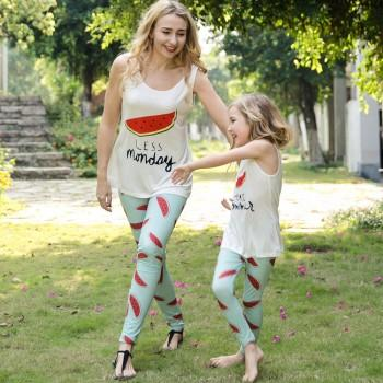 2-piece Watermelon Printed Sleeveless Tee and Leggings Set for Mom and Me