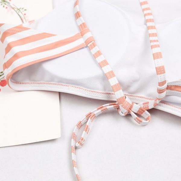 Two-piece Stripes Floral Bikini Set in Orange for Mom and Me
