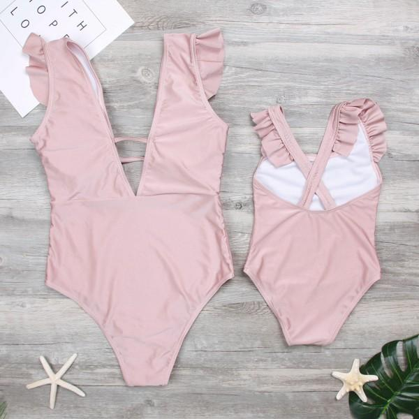 Mom and Me Cute Ruffles One-piece Swimsuit in Pink