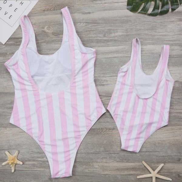 Cool Stripes Pineapple One-piece Swimsuit in Pink for Mom and Me
