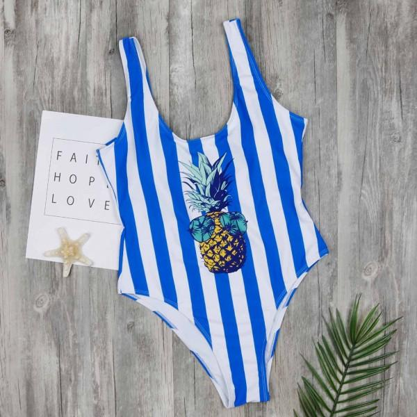 Cool Stripes Pineapple One-piece Swimsuit in Blue for Mom and Me