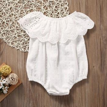 Pretty Ruffle Collar Hollow Out Off the Shoulder White Bubble Romper for Summer