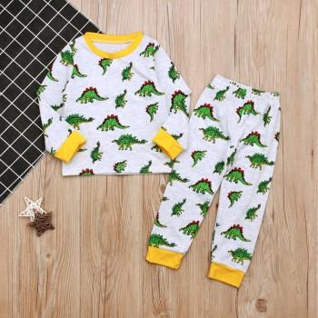 2-piece Comfy Dinosaur Pattern Long Sleeves Top and Pants for Baby Boy
