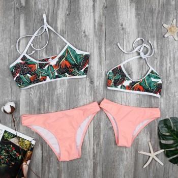 2-piece Tropical Printed Bikini Set for Mom and Me