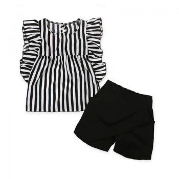 Trendy Striped Flutter-sleeve T-shirt and Solid Shorts Set for Baby Girl