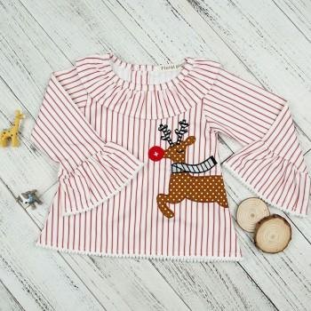 Trendy Reindeer Print Flare Sleeves Striped Top for Toddler Girls