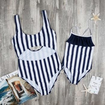 Mom and Me Classic Stripes Hollow Out One-piece Swimsuit in Navy