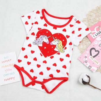 Baby's Unicorn Heart Pattern Short Sleeves Bodysuit