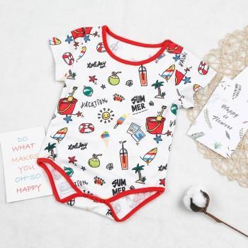 Baby's SUMMER VACATION Pattern Short Sleeves Bodysuit