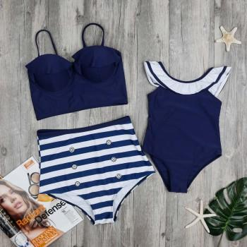 Mom and Me Vintage Marine Style Swimsuit in Navy