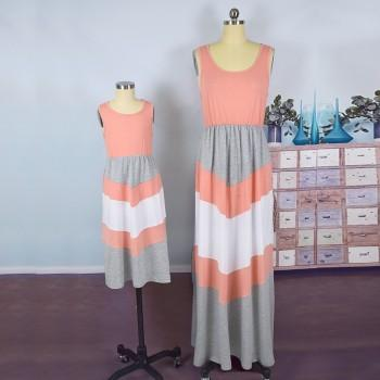 Trendy Sleeveless Stripes Maxi Dress for Mom and Me