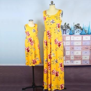 Beautiful Sleeveless Floral Maxi Dress for Mom and Me