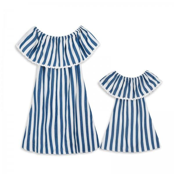 Trendy Flounced Collar Off Shoulder Striped Dress for Mom and Me