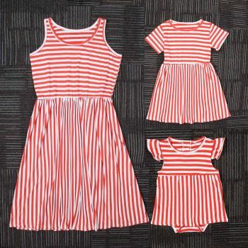 Mommy and Me Classic Orange Stripes Summer Dress