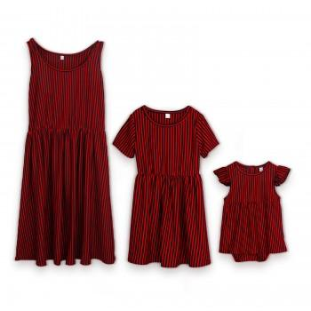 Trendy Color Block Striped Dress with Headband for Mom and Me