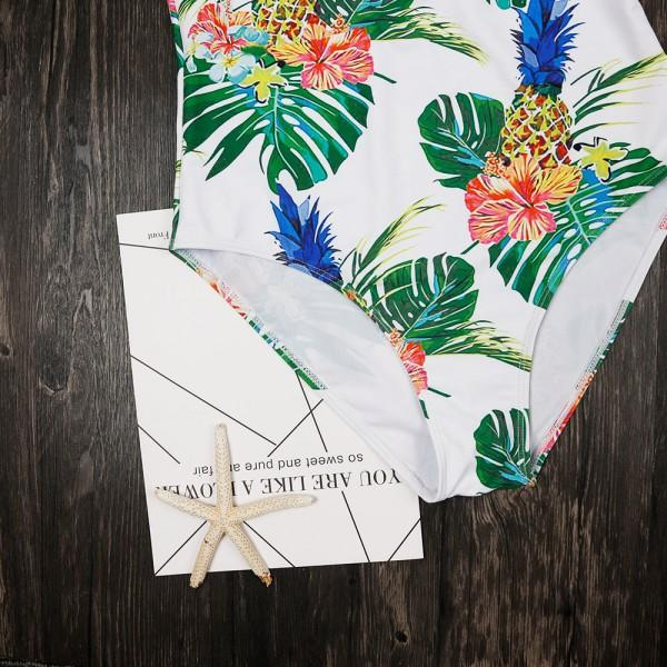 One-piece V-neck Tropical Swimsuit Mommy and me