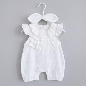 Cute Ruffled Romper and Bow Headband in White for Baby Girl