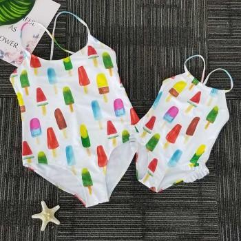 Mom and Me Colorful Fruits Popsicle Printed One-piece Swimsuit