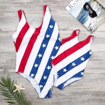 Mom and Me National Flag Printed One-piece Swimsuit