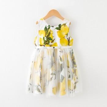 Pretty Lemon Print Sleeveless Tulle Dress for Toddler Girls