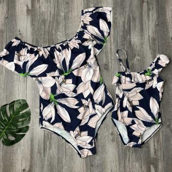 One-piece Lily Flower Printed Ruffles Swimsuit for Mom and Me