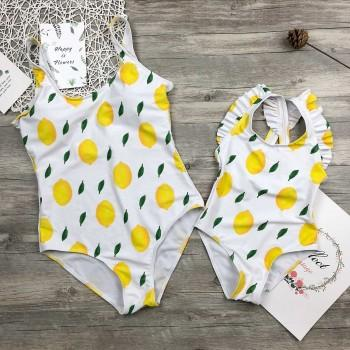 One-piece Lemon Printed Swimsuit for Mom and Me