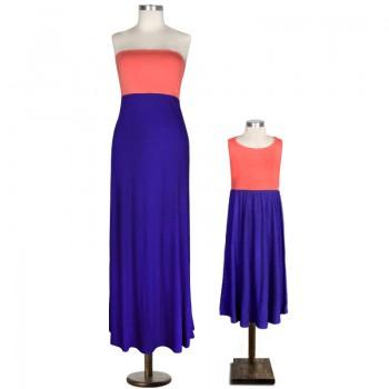 Mom and Me Color-block Strapless Maxi Dress